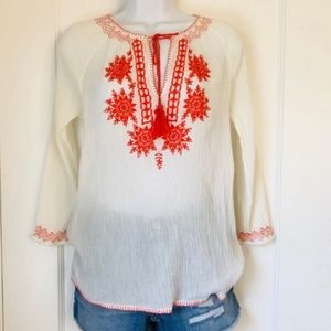 BeachLunchLounge Cream Gauzy Orange Embroidery Top